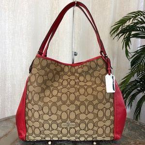Coach Edie 31 Signature Red Shoulder Bag F36466